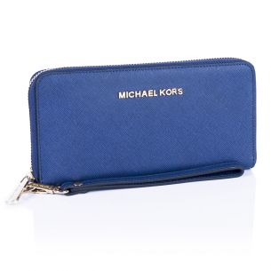 Кожаный кошелёк Michael Kors Jet Set Travel navy