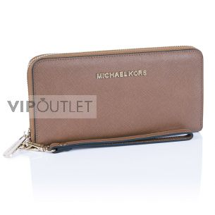 Кожаный кошелёк Michael Kors Jet Set Travel brown
