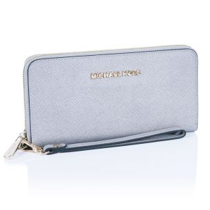 Кожаный кошелёк Michael Kors Jet Set Travel gray