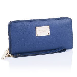 Кожаный кошелёк Michael Kors Jet Set Travel Logo navy