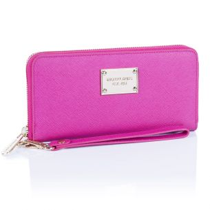 Кожаный кошелёк Michael Kors Jet Set Travel Logo fuscia