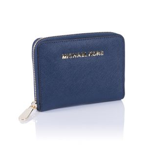 Кожаный кошелёк Michael Kors Saffiano Small Continental dark blue