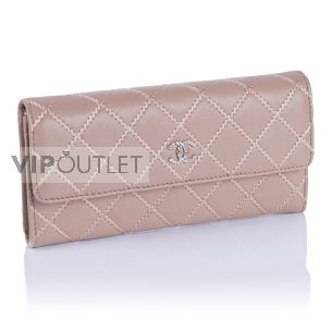 Женский кошелёк Chanel Flap Wallet Calfskin Beige