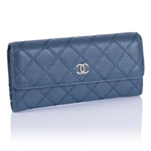 Кошелёк Chanel Flap Wallet Calfskin Denim Blue