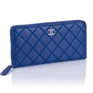 Кожаный кошелёк Chanel Zip Wallet Calfskin Blue