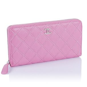 Кожаный кошелёк Chanel Zip Wallet Calfskin Pink
