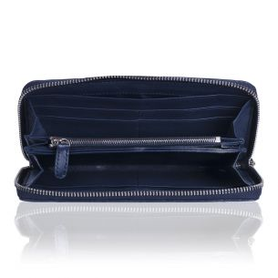 Кожаный кошелёк Chanel Zip Wallet Calfskin Denim Blue