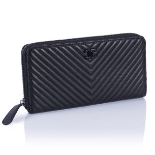 Женский кошелёк Chanel Chevron Zip Wallet black
