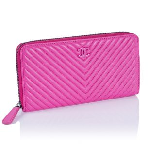 Женский кошелёк Chanel Chevron Zip Wallet fuscia