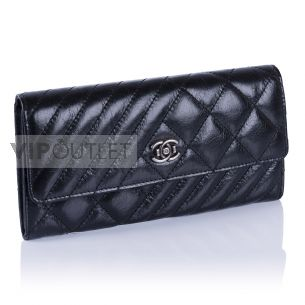 Женский кошелёк Chanel Quilted Flap Wallet black