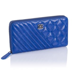 Женский кошелёк Chanel Quilted Zip Wallet blue