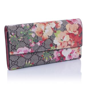 Женский кошелёк Gucci Flap GG Blooms Wallet pink