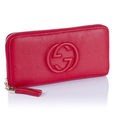 Женский кошелёк Gucci GG Calfskin Zip Wallet red