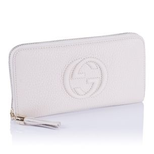 Женский кошелёк Gucci GG Calfskin Zip Wallet white