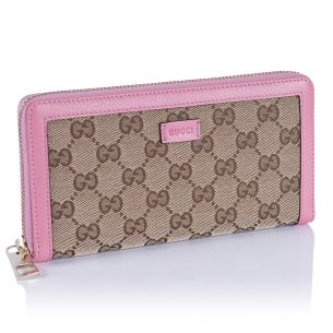 Женский кошелёк Gucci Textile canvas GG Zip Wallet pink