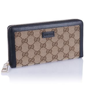 Женский кошелёк Gucci Textile canvas GG Zip Wallet black