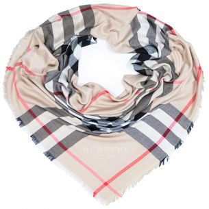 "Тёплая шаль Burberry ""Check Shawl"" бежевая"