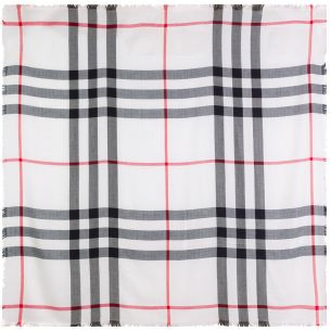"Тёплая шаль Burberry ""Check Shawl"" белая"