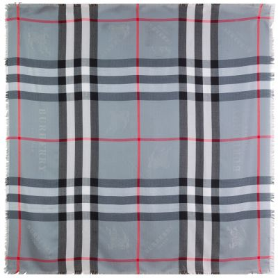 "Тёплая шаль Burberry ""Check Shawl"" серая"