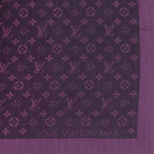 "Шаль Louis Vuitton ""Monogram Denim"" баклажановая"