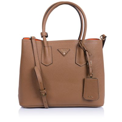 Женская сумка Prada Double Saffiano Bag camel