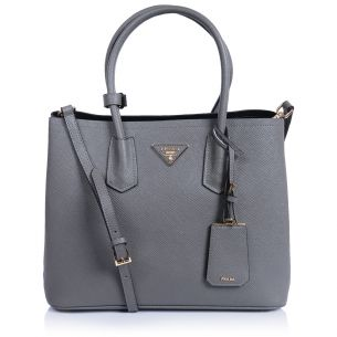 Женская сумка Prada Double Saffiano Bag gray