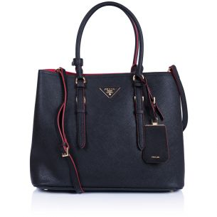 Женская сумка Prada Saffiano Cuir leather tote black-red