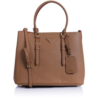 Женская сумка Prada Saffiano Cuir leather tote camel-red