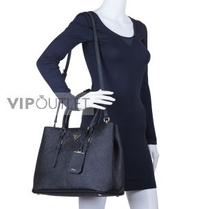 Женская сумка Prada Saffiano Cuir leather tote black-black