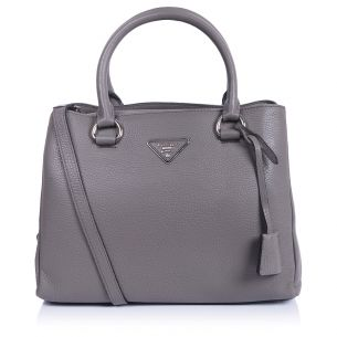 Кожаная сумка Prada Top Zip Small Bag gray