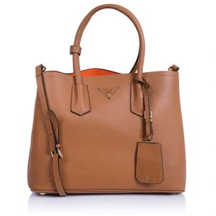 Женская сумка Prada Double Bag Calf camel-orange